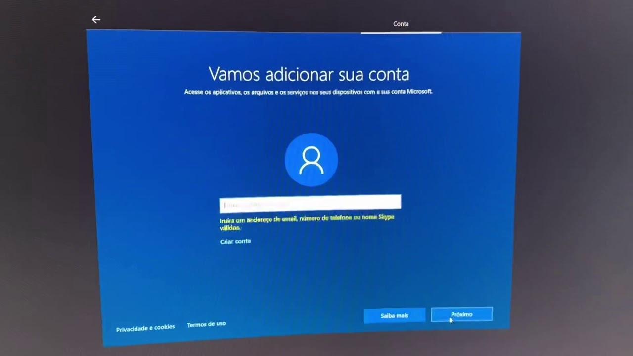 Solução para pular etapa onde Win 10 pede uma conta na instalação (Pular conta microsoft Windows 10)