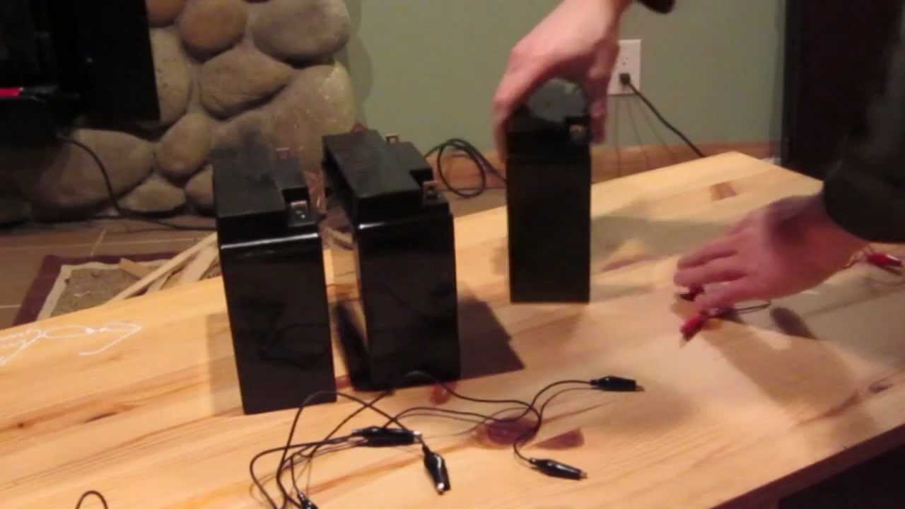 how to wire 12 volt batteries in series and parallel youtube rh youtube com Charging Batteries in Parallel Diagram Batteries in Series Vs. Parallel