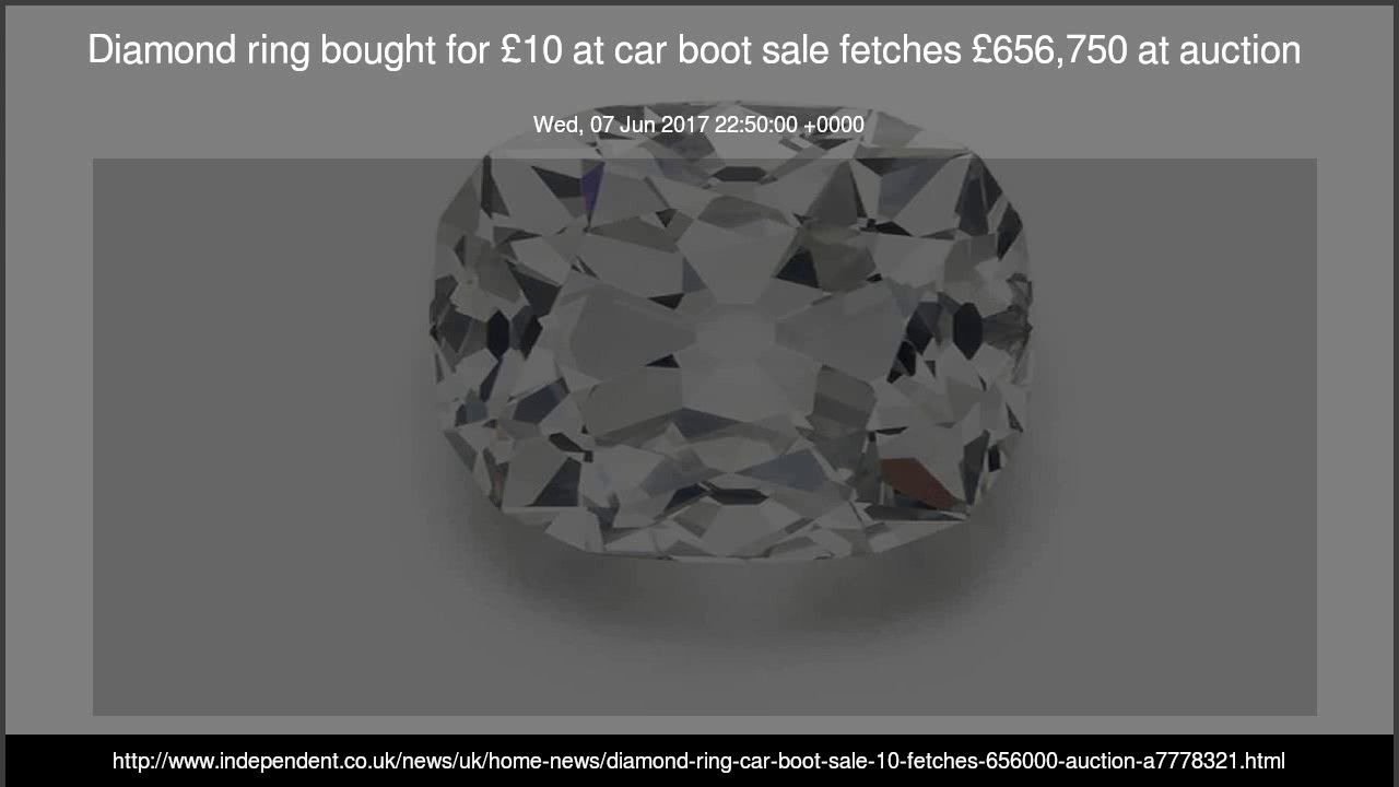 Diamond ring bought for 10 at car boot sale fetches 656 750 at auction