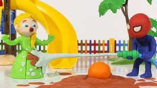 Children play with the water hose 💗 Cartoons For Kids