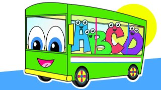 The Wheels On The Bus | Green Bus Version | Nursery Rhymes | HD