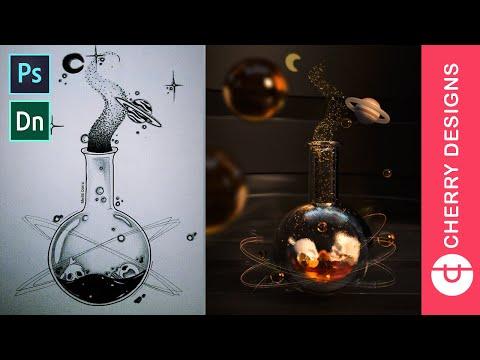 Turning a Sketch into 3D digital Art (Speed Art) using Adobe Dimensions + Adobe Photoshop