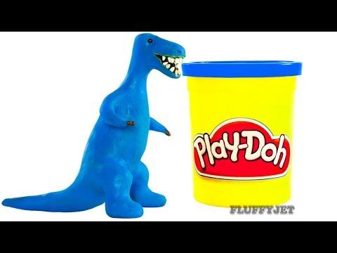 DINOSAUR kids video T-Rex dinosaur cartoon animation Play Doh Stop Motion tyrannosaurus rex Jurassic