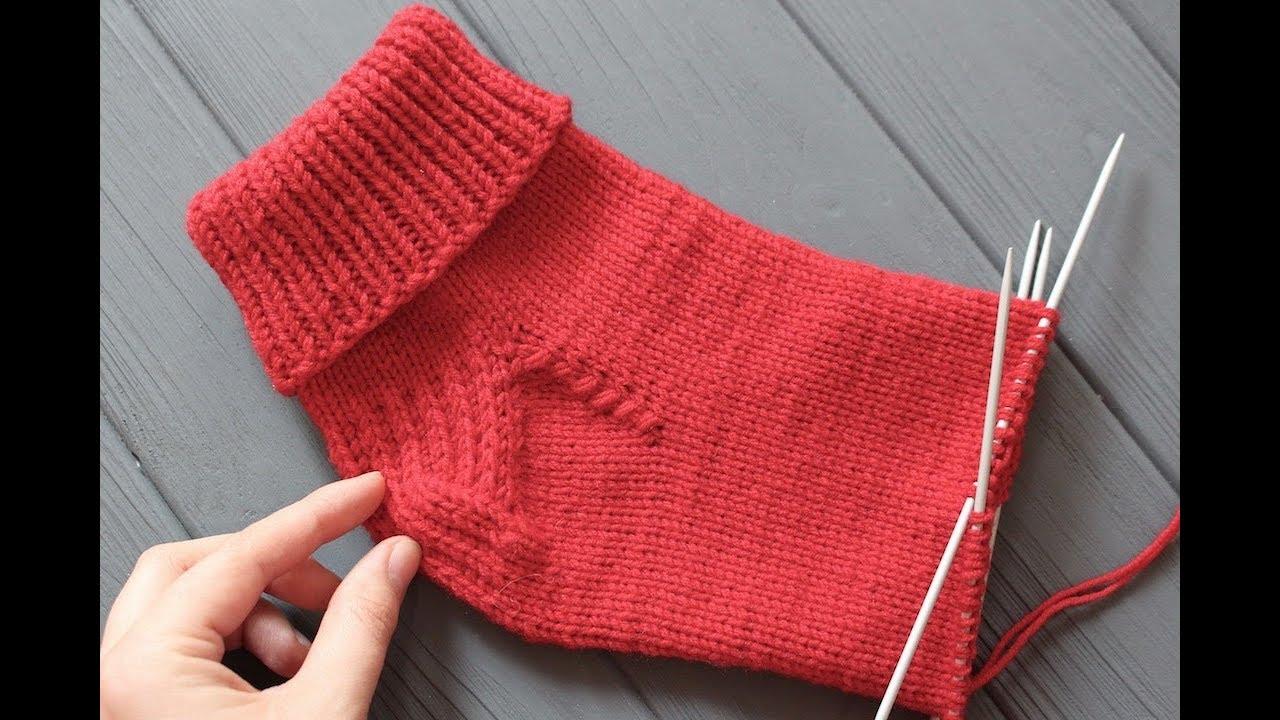 Как укрепить пятку вязанных носков