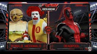 wwe raw 2 15 16 deadpool vs ronald mcdonald w cheeseburger man wwe 2k16 simulation