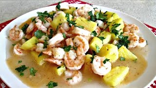 Tropical Coconut Shrimp - Sauteed Shrimp With Pineapple And Coconut Cream - Poormansgourmet