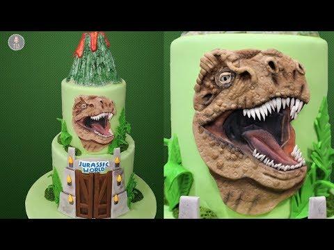 Jurassic World T-Rex Dinosaur Cake Tutorial!