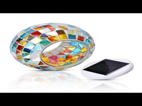 ME.FAN Solar Powered Mosaic Glass Ball Garden Lights Color Changing Solar N