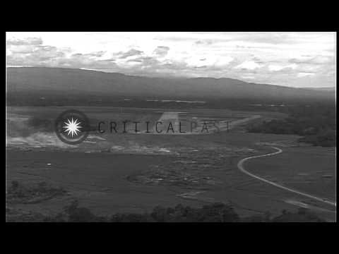 US Air Force runway strips and airfields at islands of Guadalcanal in Solomon Isl...HD Stock Footage