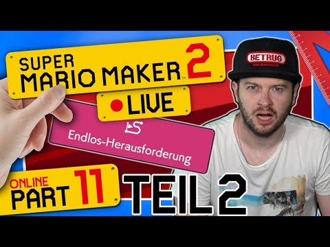 🔴 SUPER MARIO MAKER 2 ONLINE 👷 #11: Endlos-Herausforderung | Schwer - Teil 2 | Live