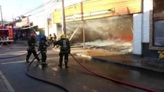 Curicó: Incendio de magnitud en Rodríguez