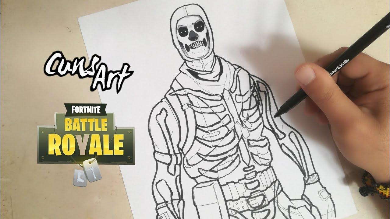 Como Dibujar A Skull Trooper Fortnite Especial Halloween Dia De Muertos