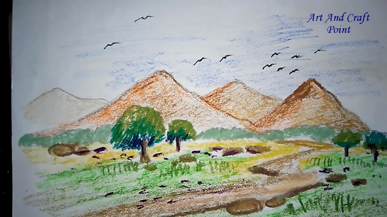 how to draw pastel landscapes