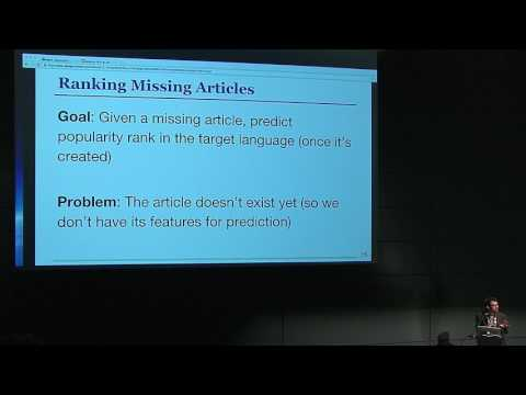 "AMLD2017 - Bob West, EPFL: ""Growing Wikipedia Across Languages via Recommendation"""