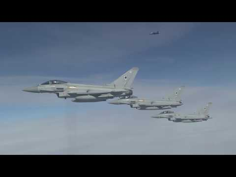 RAF Typhoons and French Rafales Refuel during Exercise Griffin Strike