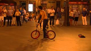 BMX Freestyle- Trick goes wrong. Bike runs over tourists.