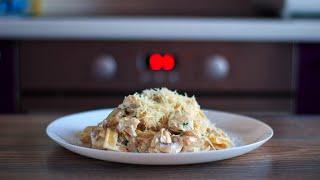 Феттуччине Альфредо с курицей и грибами/Fettuccine Alfredo with Chicken and Mushrooms