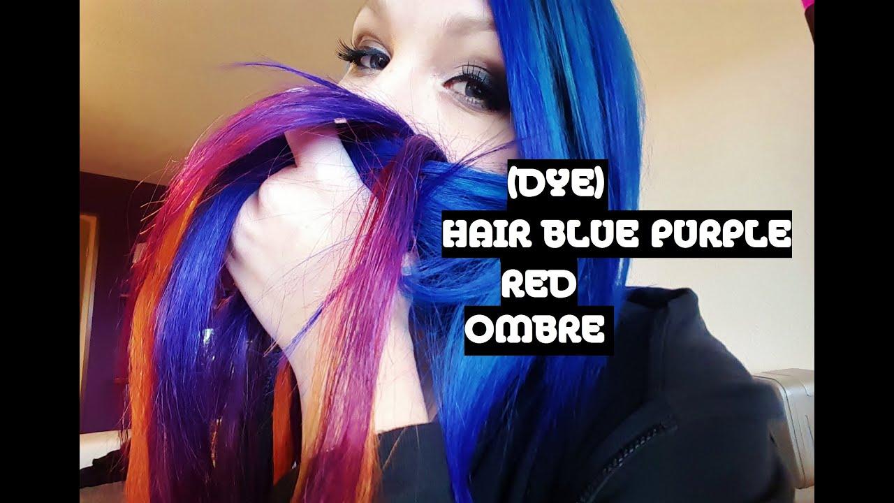 dye hair blue purple red ombre