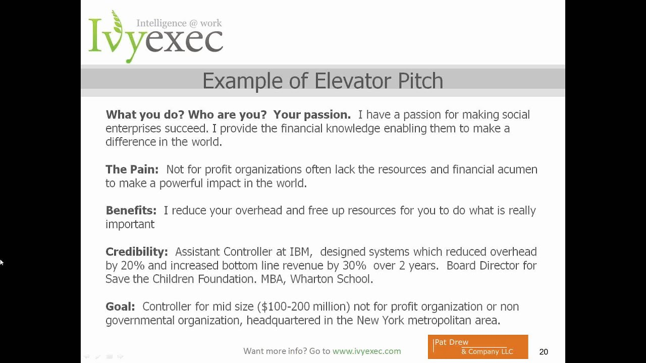 Creating Your Elevator Pitch How to Communicate Your Value in 20 – Elevator Pitch Example