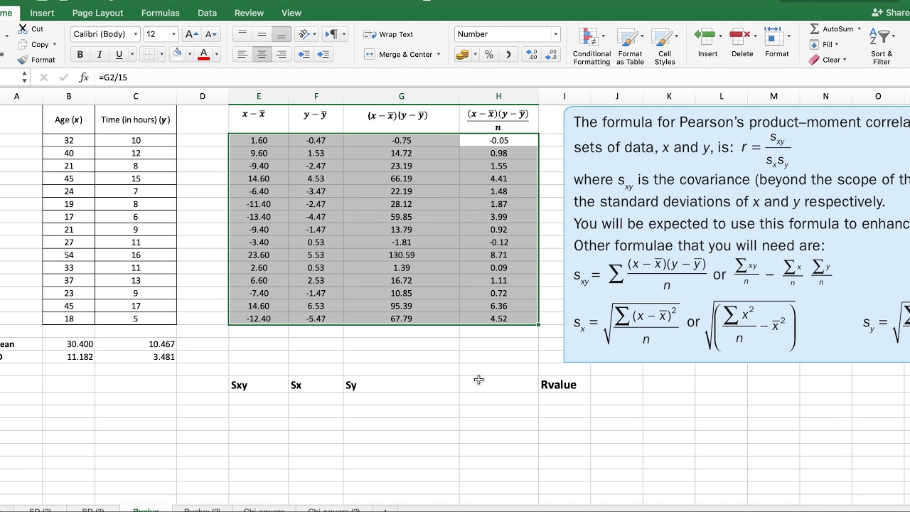 IB Math Studies SL IA - Using Excel for Correlation Coefficient