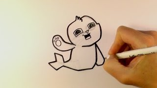 How to Draw a Cartoon Seal From Animal Jam - zooshii Style