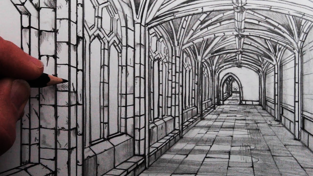 How To Draw A Medieval Hallway In One Point Perspective Cloisters