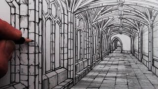 How to Draw a Medieval Hallway in One Point Perspective: Cloisters