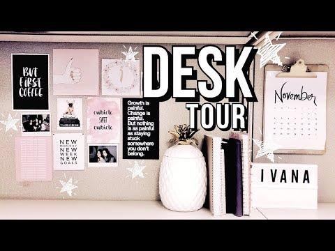 DESK TOUR 2019 - DIY CUBICLE DECOR