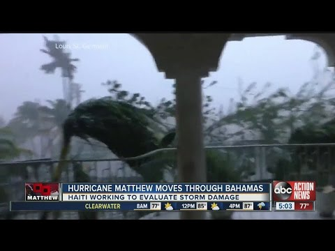 Hurricane Matthew moves through the Bahamas