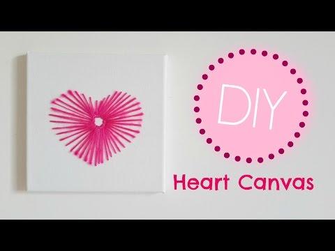DIY Heart Canvas   Cute & Easy Room Decor