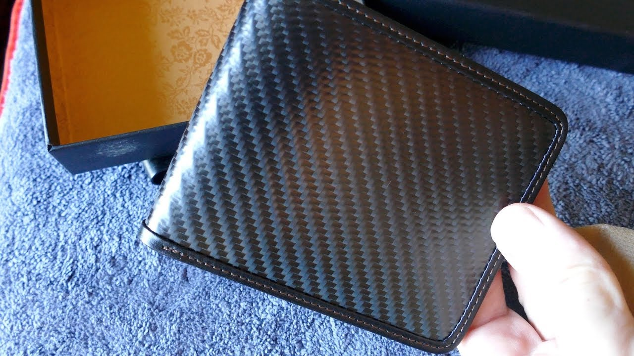 Real Carbon Fiber Fibre Black Leather Wallet Bill Fold