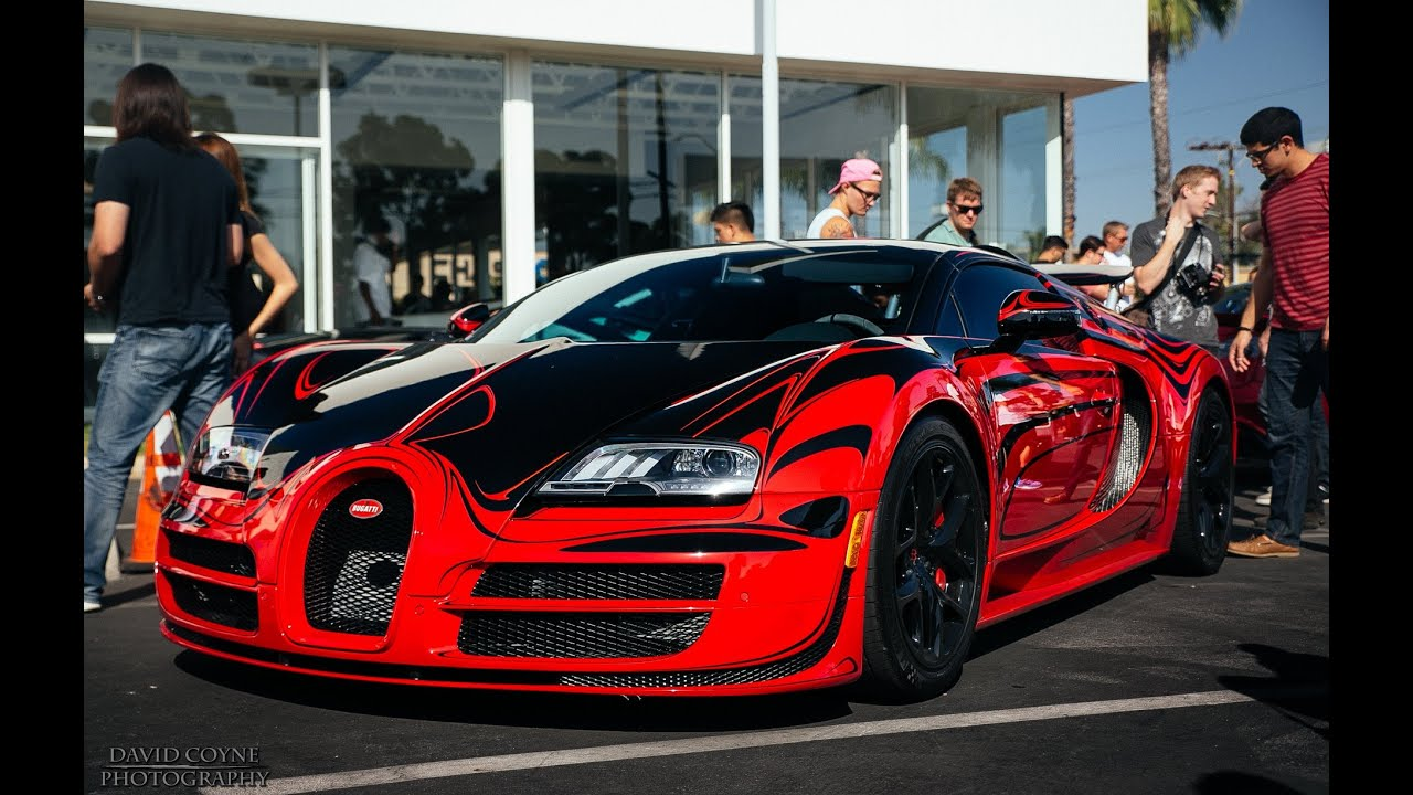 Red and black bugatti