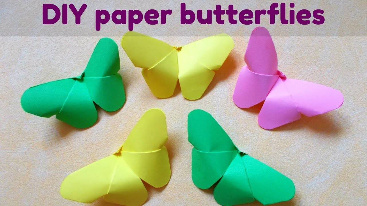 Easy paper craft paper butterfly very easy origami for How to decorate a paper butterfly