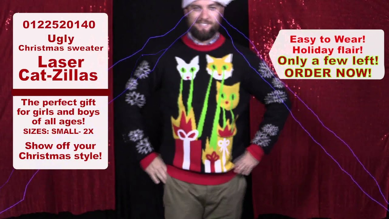 d352b2cc3f0b4 Laser Cat-Zillas! Ugly Christmas Sweater | Stupid.com - YouTube