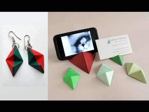Origami Double Pyramid Business Card Stand Base Para Tarjetas O