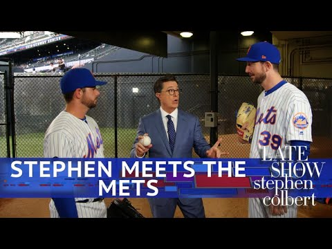 Stephen Colbert vs. Visits NY Mets with Ideas for Modernizing Baseball