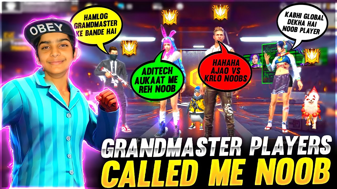 4 Grandmaster Players Called Me Noob ❤️🤯 - आजा 1 vs 4 में 😂 - Garena Free Fire