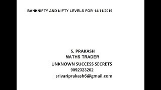 Banknifty and Nifty Breakout Levels of 14/11/2019