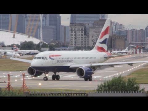 """Airbus a318 """"British Airways"""" takeoff from London City Airport"""