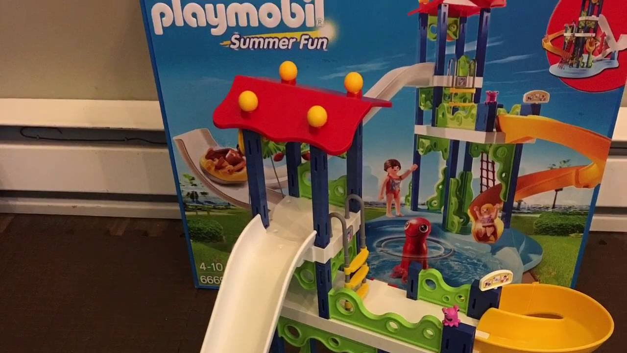 Playing With The New PLAYMOBIL Water Park With Slides 6669