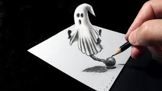 👻Drawing Trick - How to Draw 3D Ghost Illusion - Vamos