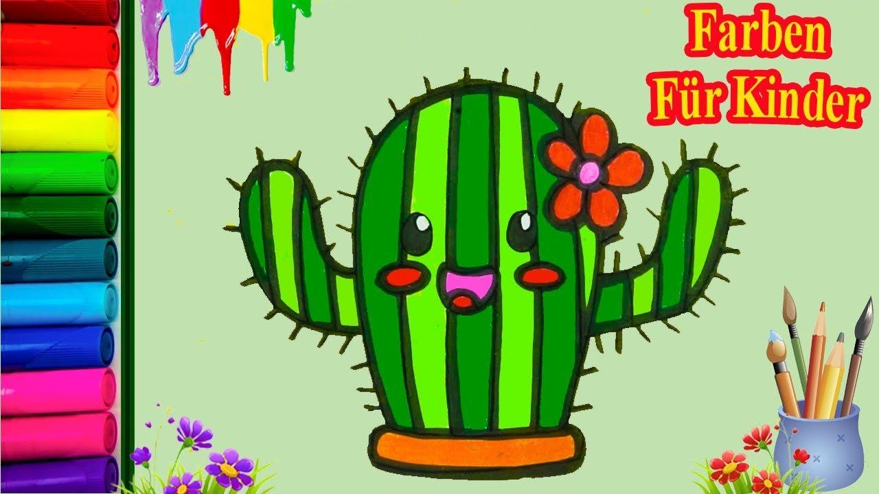 Wie Man Einen Kaktus Für Kinder Malt Und Färbt Farben Lernen Für Kleinkinder Deutsch