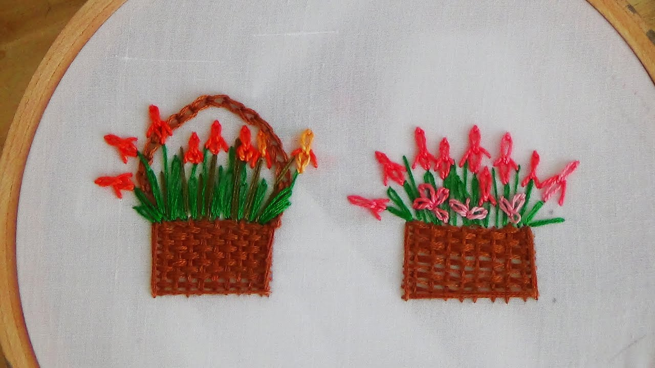 Free Flower Basket Embroidery Designs