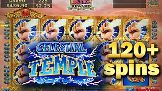CELESTIAL TEMPLE SLOT MACHINE BONUS 120+ FREE SPINS WITH RETRIGGERS AND SUPER FREE GAMES Konami(120 free spins triggered on $2.25 bet on the Celestial Temple Slot machine. What makes this video unique is that I retrigger during the Super Free Games!, 2015-02-06T12:24:26.000Z)
