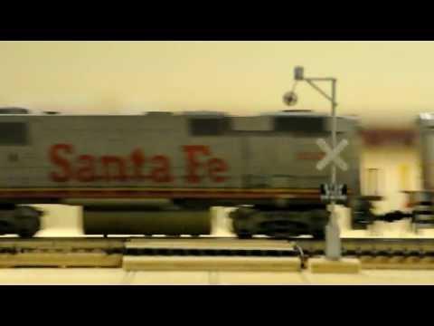 Santa Fe Stack Train Passes Model Wig Wag