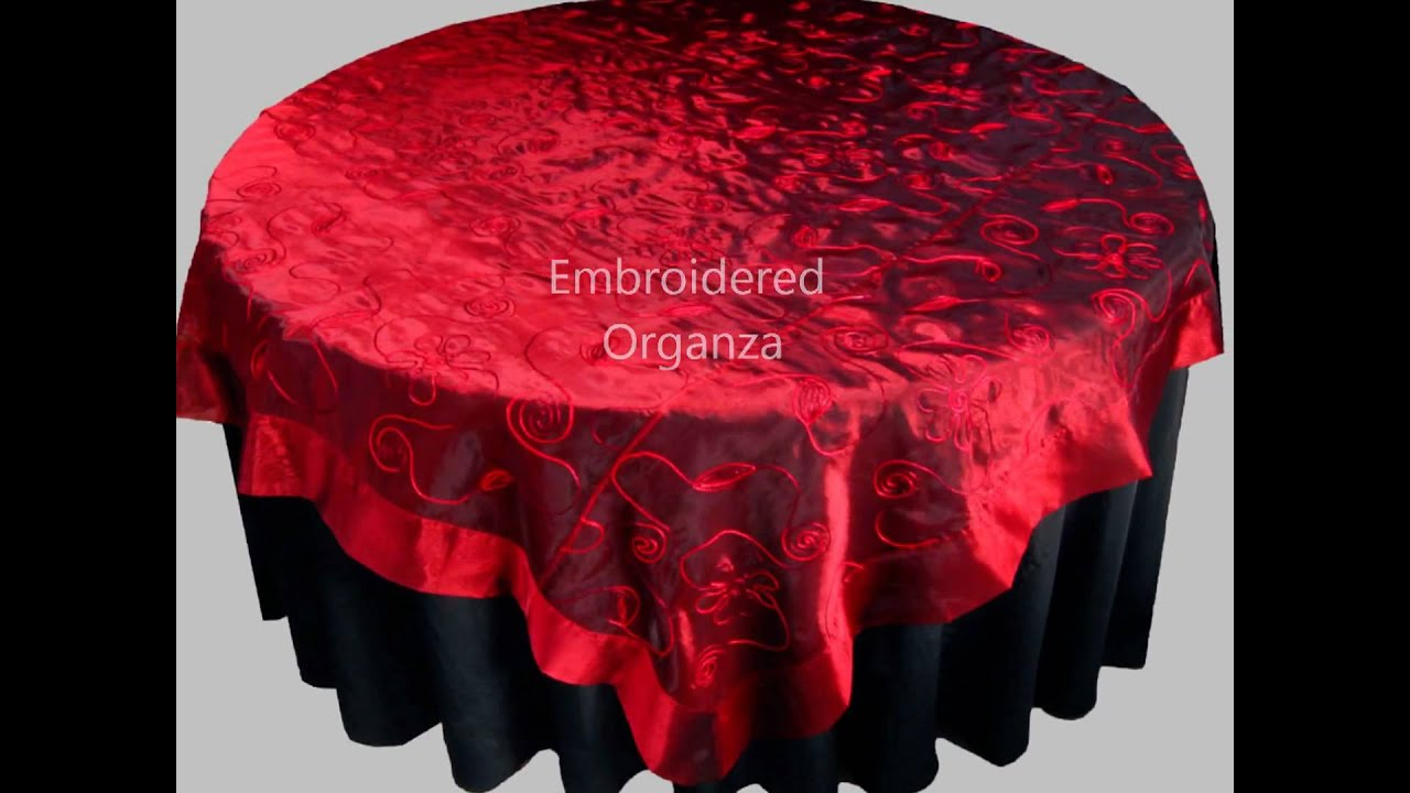 ORGANZA TABLECLOTHS   CRUSHED ORGANZA TABLE OVERLAYS / TOPPERS    EMBROIDERED ORGANZA FABRIC   YouTube