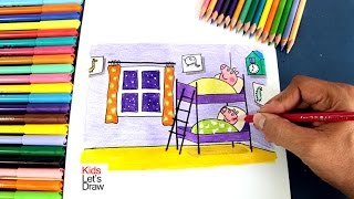 Cómo dibujar el DORMITORIO DE PEPPA y GEORGE | How to draw PEPPA Pig