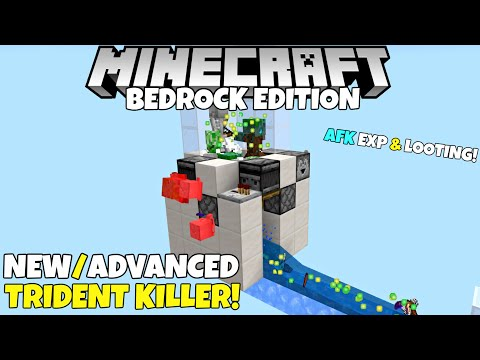 Minecraft Bedrock: Updated Trident Killer! AFK EXP & Looting Mob Killer Tutorial! MCPE Xbox PC Ps4