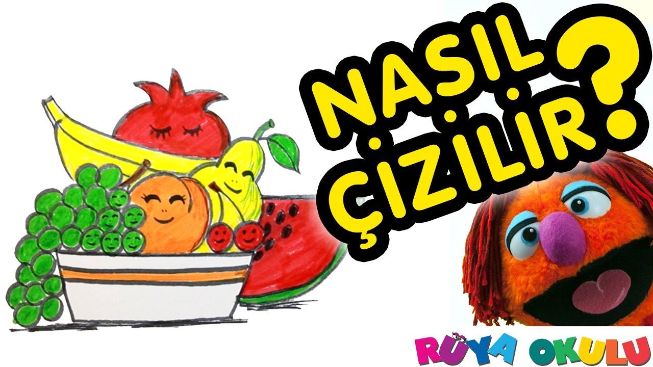 Nasıl çizilir Meyve Tabağı Natürmort Meyveler çocuklar Için