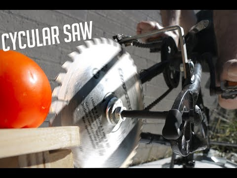 Making a pedal powered saw out of a bicycle